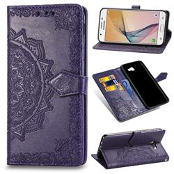 Embossing Imprint Mandala Flower Leather Wallet Case for Samsung Galaxy J5 Prime - Purple