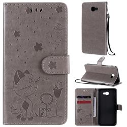Embossing Bee and Cat Leather Wallet Case for Samsung Galaxy J5 Prime - Gray