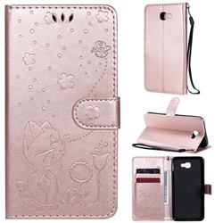 Embossing Bee and Cat Leather Wallet Case for Samsung Galaxy J5 Prime - Rose Gold