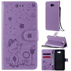 Embossing Bee and Cat Leather Wallet Case for Samsung Galaxy J5 Prime - Purple