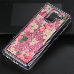 Rose Flower Glassy Glitter Quicksand Dynamic Liquid Soft Phone Case for Samsung Galaxy J6 (2018) SM-J600F
