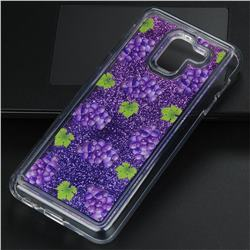 Purple Grape Glassy Glitter Quicksand Dynamic Liquid Soft Phone Case for Samsung Galaxy J6 (2018) SM-J600F