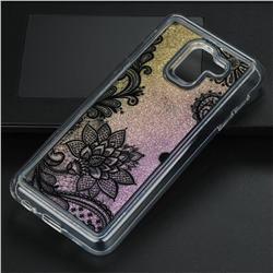 Diagonal Lace Glassy Glitter Quicksand Dynamic Liquid Soft Phone Case for Samsung Galaxy J6 (2018) SM-J600F
