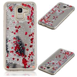 Glitter Sand Mirror Quicksand Dynamic Liquid Star TPU Case for Samsung Galaxy J6 (2018) SM-J600F - Red
