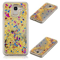 Glitter Sand Mirror Quicksand Dynamic Liquid Star TPU Case for Samsung Galaxy J6 (2018) SM-J600F - Yellow