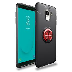 Auto Focus Invisible Ring Holder Soft Phone Case for Samsung Galaxy J6 (2018) SM-J600F - Black Red