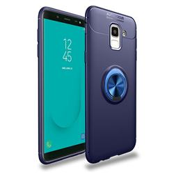 Auto Focus Invisible Ring Holder Soft Phone Case for Samsung Galaxy J6 (2018) SM-J600F - Blue
