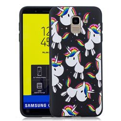 Rainbow Unicorn 3D Embossed Relief Black Soft Back Cover for Samsung Galaxy J6 (2018) SM-J600F