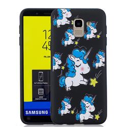 Blue Unicorn 3D Embossed Relief Black Soft Back Cover for Samsung Galaxy J6 (2018) SM-J600F