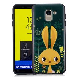 Cute Rabbit 3D Embossed Relief Black Soft Back Cover for Samsung Galaxy J6 (2018) SM-J600F