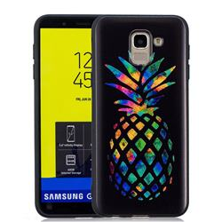 Colorful Pineapple 3D Embossed Relief Black Soft Back Cover for Samsung Galaxy J6 (2018) SM-J600F