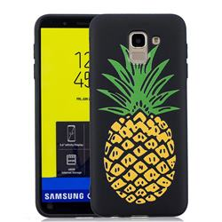 Big Pineapple 3D Embossed Relief Black Soft Back Cover for Samsung Galaxy J6 (2018) SM-J600F