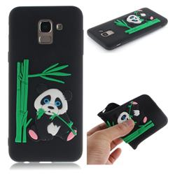 Panda Eating Bamboo Soft 3D Silicone Case for Samsung Galaxy J6 (2018) SM-J600F - Black
