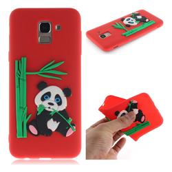 Panda Eating Bamboo Soft 3D Silicone Case for Samsung Galaxy J6 (2018) SM-J600F - Red