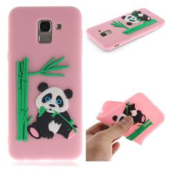 Panda Eating Bamboo Soft 3D Silicone Case for Samsung Galaxy J6 (2018) SM-J600F - Pink