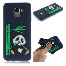 Panda Eating Bamboo Soft 3D Silicone Case for Samsung Galaxy J6 (2018) SM-J600F - Dark Blue