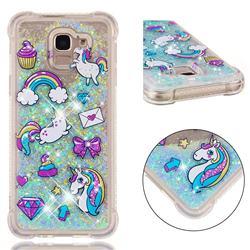 Fashion Unicorn Dynamic Liquid Glitter Sand Quicksand Star TPU Case for Samsung Galaxy J6 (2018) SM-J600F