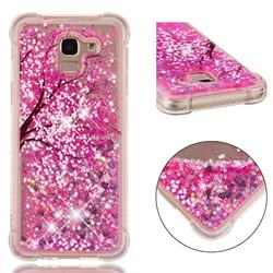Pink Cherry Blossom Dynamic Liquid Glitter Sand Quicksand Star TPU Case for Samsung Galaxy J6 (2018) SM-J600F