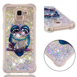 Sweet Gray Owl Dynamic Liquid Glitter Sand Quicksand Star TPU Case for Samsung Galaxy J6 (2018) SM-J600F