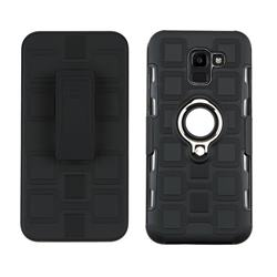 3 in 1 PC + Silicone Leather Phone Case for Samsung Galaxy J6 (2018) SM-J600F - Black