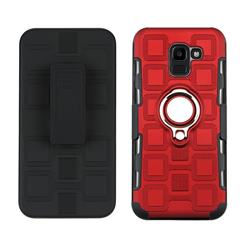 3 in 1 PC + Silicone Leather Phone Case for Samsung Galaxy J6 (2018) SM-J600F - Red