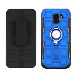 3 in 1 PC + Silicone Leather Phone Case for Samsung Galaxy J6 (2018) SM-J600F - Dark Blue