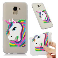 Rainbow Unicorn Soft 3D Silicone Case for Samsung Galaxy J6 (2018) SM-J600F - Translucent White