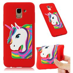 Rainbow Unicorn Soft 3D Silicone Case for Samsung Galaxy J6 (2018) SM-J600F - Red