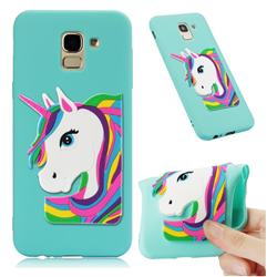 Rainbow Unicorn Soft 3D Silicone Case for Samsung Galaxy J6 (2018) SM-J600F - Sky Blue