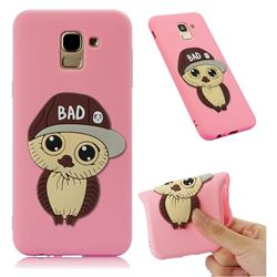 Bad Boy Owl Soft 3D Silicone Case for Samsung Galaxy J6 (2018) SM-J600F - Pink