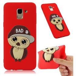 Bad Boy Owl Soft 3D Silicone Case for Samsung Galaxy J6 (2018) SM-J600F - Red
