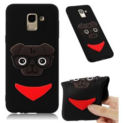 Glasses Dog Soft 3D Silicone Case for Samsung Galaxy J6 (2018) SM-J600F - Black