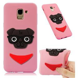 Glasses Dog Soft 3D Silicone Case for Samsung Galaxy J6 (2018) SM-J600F - Pink