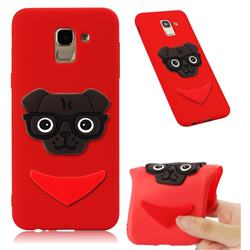 Glasses Dog Soft 3D Silicone Case for Samsung Galaxy J6 (2018) SM-J600F - Red