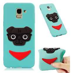 Glasses Dog Soft 3D Silicone Case for Samsung Galaxy J6 (2018) SM-J600F - Sky Blue