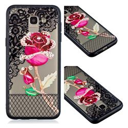Rose Lace Diamond Flower Soft TPU Back Cover for Samsung Galaxy J6 (2018) SM-J600F