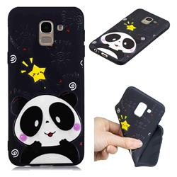 Cute Bear 3D Embossed Relief Black TPU Cell Phone Back Cover for Samsung Galaxy J6 (2018) SM-J600F