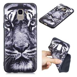 White Tiger 3D Embossed Relief Black TPU Cell Phone Back Cover for Samsung Galaxy J6 (2018) SM-J600F