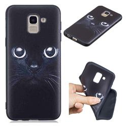 Bearded Feline 3D Embossed Relief Black TPU Cell Phone Back Cover for Samsung Galaxy J6 (2018) SM-J600F