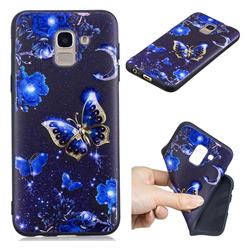 Phnom Penh Butterfly 3D Embossed Relief Black TPU Cell Phone Back Cover for Samsung Galaxy J6 (2018) SM-J600F