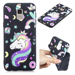 Candy Unicorn 3D Embossed Relief Black TPU Cell Phone Back Cover for Samsung Galaxy J6 (2018) SM-J600F