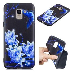 Blue Butterfly 3D Embossed Relief Black TPU Cell Phone Back Cover for Samsung Galaxy J6 (2018) SM-J600F