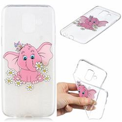 Tiny Pink Elephant Clear Varnish Soft Phone Back Cover for Samsung Galaxy J6 (2018) SM-J600F