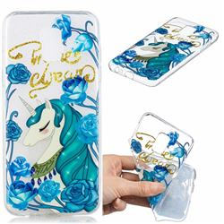 Blue Flower Unicorn Clear Varnish Soft Phone Back Cover for Samsung Galaxy J6 (2018) SM-J600F