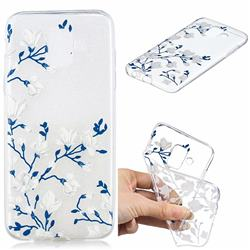 Magnolia Flower Clear Varnish Soft Phone Back Cover for Samsung Galaxy J6 (2018) SM-J600F
