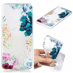 Gem Flower Clear Varnish Soft Phone Back Cover for Samsung Galaxy J6 (2018) SM-J600F
