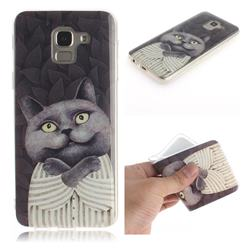 Cat Embrace IMD Soft TPU Cell Phone Back Cover for Samsung Galaxy J6 (2018) SM-J600F