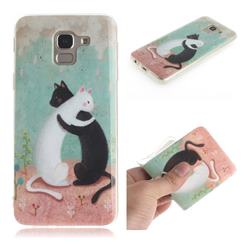 Black and White Cat IMD Soft TPU Cell Phone Back Cover for Samsung Galaxy J6 (2018) SM-J600F