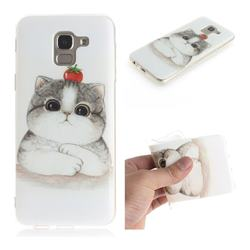 Cute Tomato Cat IMD Soft TPU Cell Phone Back Cover for Samsung Galaxy J6 (2018) SM-J600F