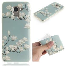 Magnolia Flower IMD Soft TPU Cell Phone Back Cover for Samsung Galaxy J6 (2018) SM-J600F